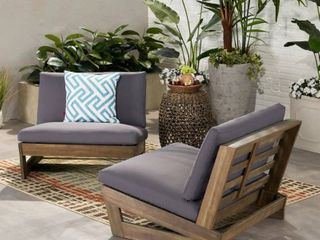 Sherwood Outdoor Acacia Club Chairs with Cushions by Christopher Knight Home  1 only