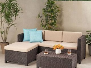 Waverly Outdoor Sectional Set with Cushions by Christopher Knight Home  Cushions only  5 seat cushions  2 backrest cushions