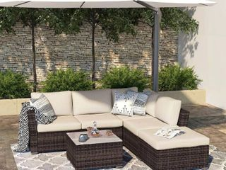 Outdoor Sectional Patio Furniture All Weather Wicker Furniture Sofa Couch Set with Waterproof Cover and Clips  Brown Retail 846 99  Box 3 of 3  3 couch seat cushions only  2 ottomans without cushions only