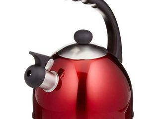 Creative Home Rhapsody 2 1 Qt  Whistling Stainless Steel Metallic Cranberry Tea Kettle