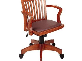 Deluxe Wood Banker s Chair Padded Seat with Base Fruitwood Brown   OSP Home Furnishings