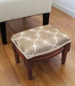 Copper Grove Castletown Taupe Upholstered White Footstool with Vine Accents Retail 91 49