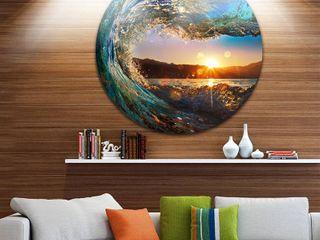 Designart  Colored Ocean Waves Falling Down  Modern Seashore Disc Metal Wall Art Retail 144 49