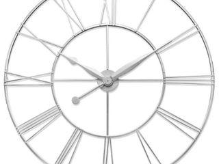 Skyscraper XXl 45 inch large Decorative Open Face Roman Numeral Wall Clock   Antique Silver Retail 211 95