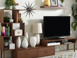 BOX 3 of 3  Carson Carrington Sakskobing Mid century Medium Brown Wood TV Stand Retail 267 05