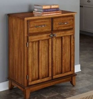 BOX 1 of 2  Copper grove narcisse oak buffet cabinet  wood top only