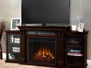 BOX 3 of 3  Calie Dark Walnut Electric Fireplace Media Cabinet   67l x 18W x 30 5H Retail 798 49