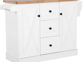 BOX 2 of 2 HomCom Wood Top Drop leaf Multi Storage Cabinet Rolling Kitchen Island Table Cart With Wheels   White Retail 437 49