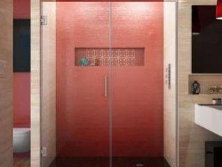 BOX 2 of 4  Dreamline Unidoor Plus 58 to 58 5 in  x 72 in  Frameless Hinged Shower Door in Brushed Nickel