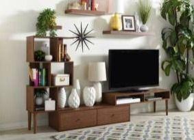BOX 2 of 3 Carson Carrington Sakskobing Mid century Medium Brown Wood TV Stand Retail 267 05