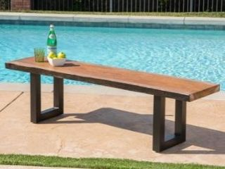 Caldwell outdoor faux live edge rectangular picnic dining table bench