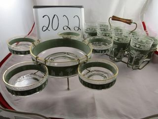 Retro glass set in carrier  and salad bowl with