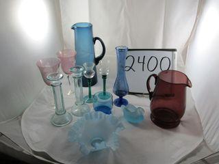 Coloured glass  vases  jugs  ruffled edge bowl