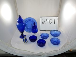 Cobalt Blue   2 plates  3 bowls   2 nappies