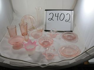 lot of pink glass  Vases  tumblers  Candle holder