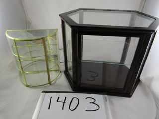 2 Table top Display cabinets  Brass 9  H  Wooden