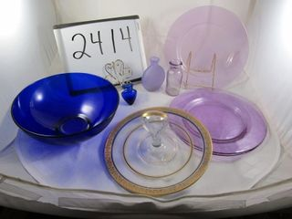 lot  3 lavender plates   vase  bottle  Stretch