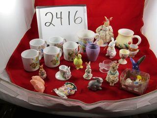 lot  Bunnies including Goebel  Bunnykin Egg cup