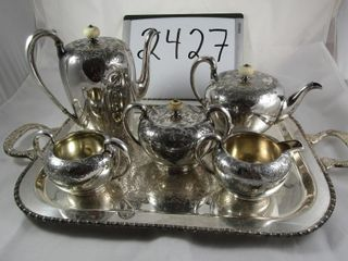 Wilcox Silver plate tea service 5 pieces plus tray