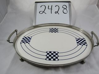 Vintage Cocktail tray with porcelain base