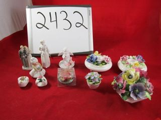 China posie  candle holder  figurees  Bisque