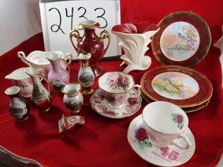 Porcelain lot  3 limoges plates  Vase  24 K gilded