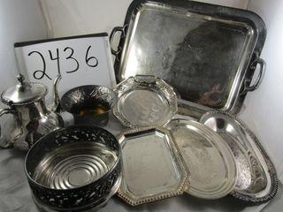 Silver plate lot Tray  Coffee pot  Casserole hold