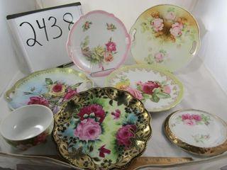 Victorian Porcelain  5 plates  trivet  footed bown