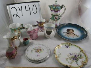 Victorian Porcelain  2 plates one limoges  trivets