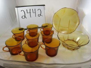 Amber ware  plate  bowl  8 coffee mugs