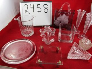 Glass lot  vases  Art glass vase  flower frog