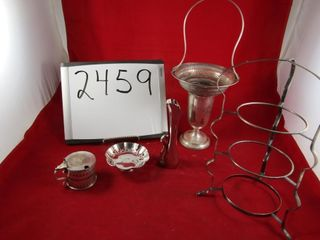 Silver plate lot  plate stand  vase  cobalt