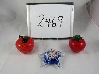 Art glass apples  paper weight