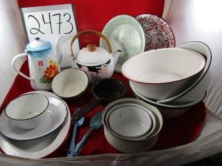 Enamel  pie plates   platter  coffee pot  kettle