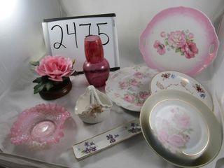 Group of porcelain plates  Pink