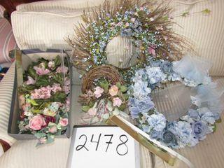 3 Spring wreaths  door hangers  2 pillar rings