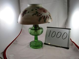 Aladdin Coal oil lamp  green base   hand painted