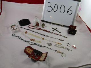 Religious lot  rosary  medals  Pope souvenir