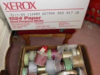 Transfer box of bows    flat of ribbon on spool
