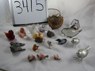 lot of birds  Art glass  wooden metal  marble