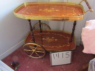Tea wagon   metal with wood inlay 28 5  x 16 5  x