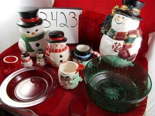 Trio of Snowman Canisters  Salt   Pepper  2 mugs