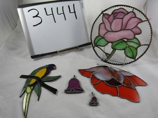 5 pieces of Stain glass pieces