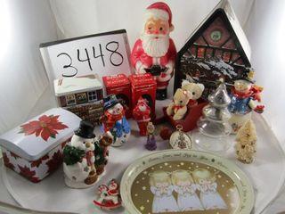 Christmas lot  tins  Santa of the Nations figures