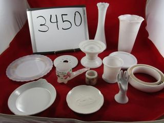 lot  Milk glass  Vases  plates  Pansy ring
