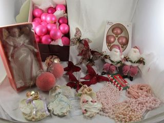 Decorations pink theme  Santas  glass balls  bead
