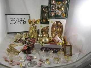lot of gold glass balls  clear and brass angels