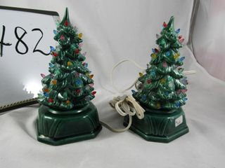 Pair of Ceramic Christmas Trees