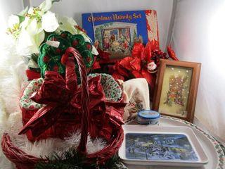 Christmas baskets  flowers  finger towels