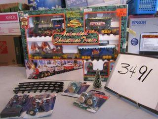 Christmas train set   trees  railward crossing